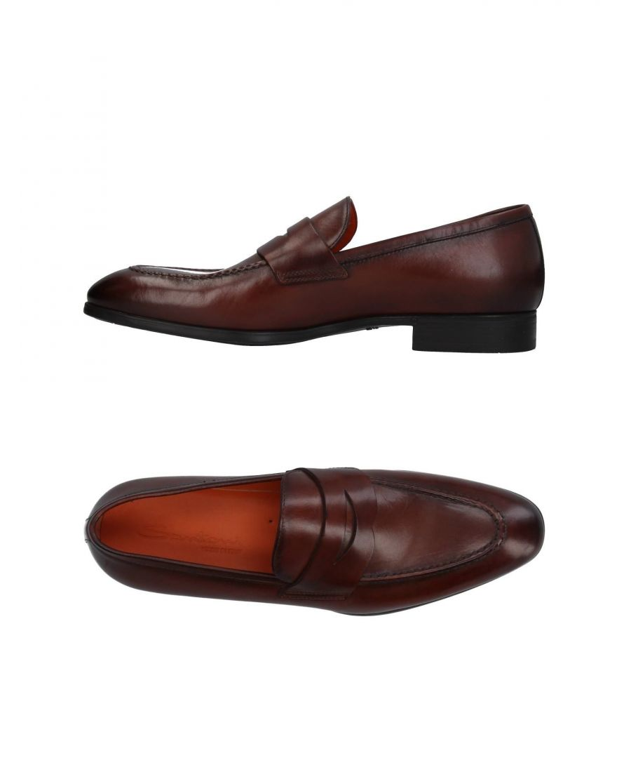 Image for Santoni Dark Brown Leather Loafers