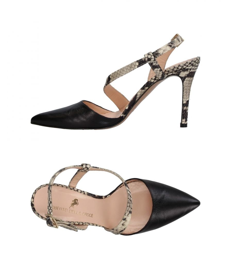 Image for Roberto Della Croce Black Leather Snakeskin Print Heels