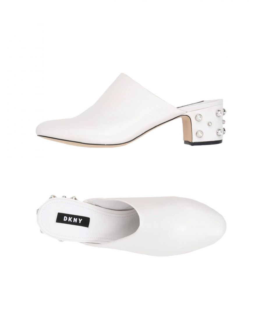 Image for DKNY White Leather Mules