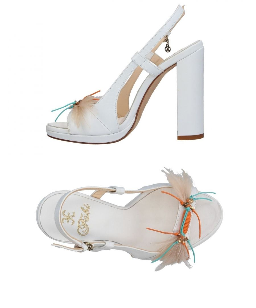 Image for Fabi White Leather Heeled Sandals