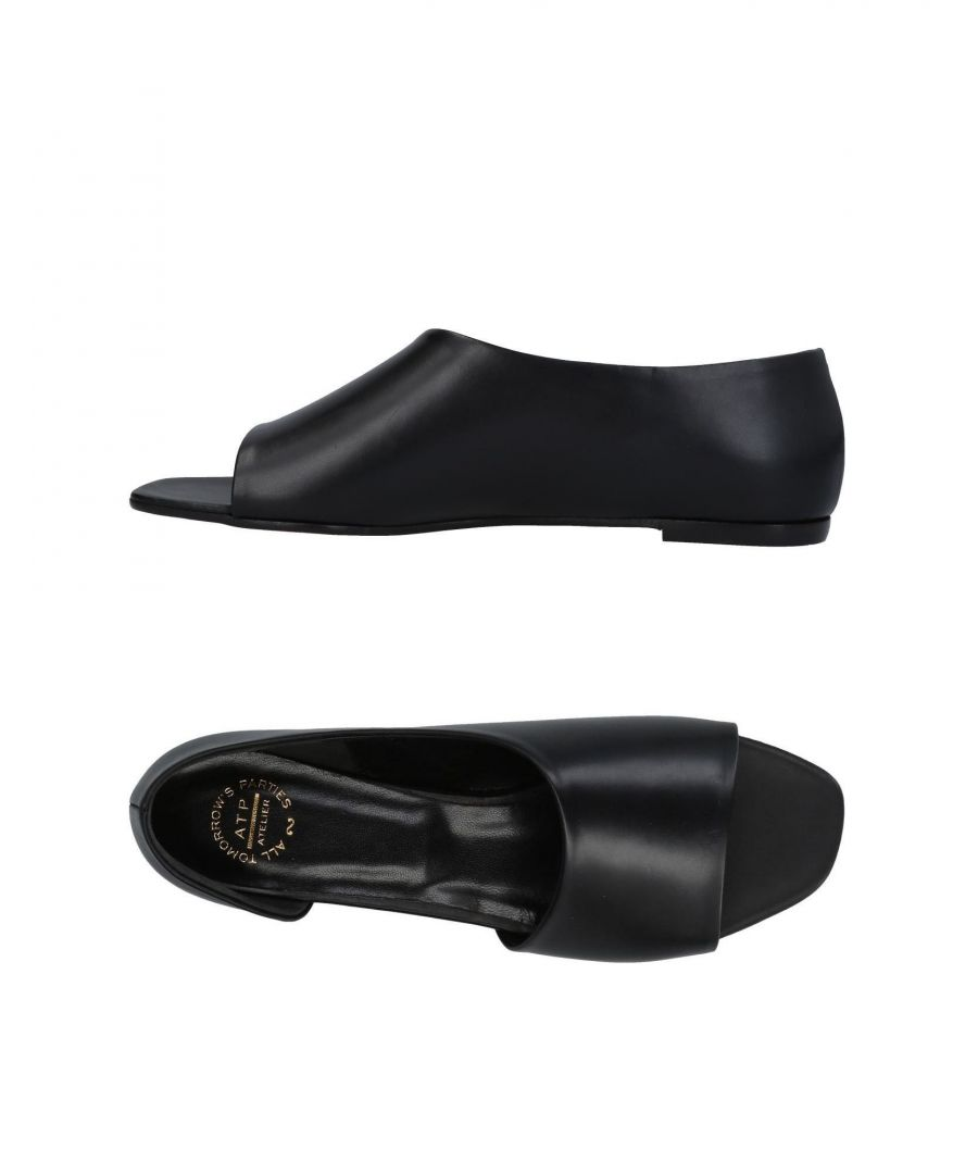 Image for Atp Atelier Black Leather Flat Sandals