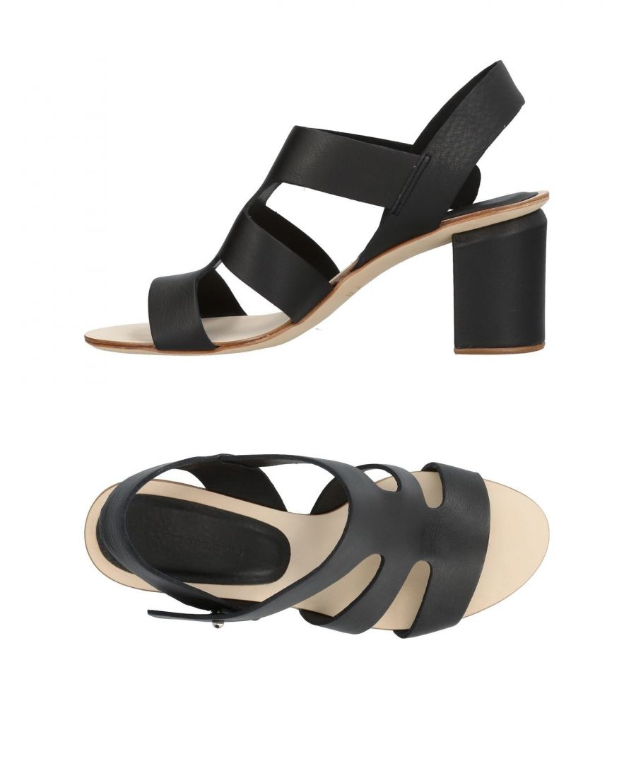 Image for Roberto Del Carlo Black Calf Leather Heeled Sandals
