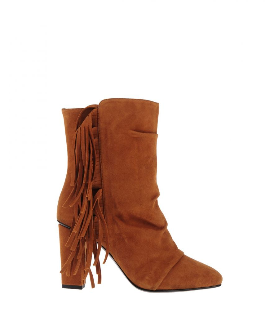 Image for Giuseppe Zanotti Brown Leather Fringed Ankle Boots
