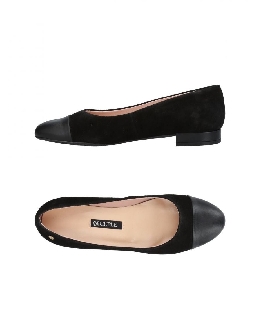 Image for Cuple Black Leather Ballet Flats