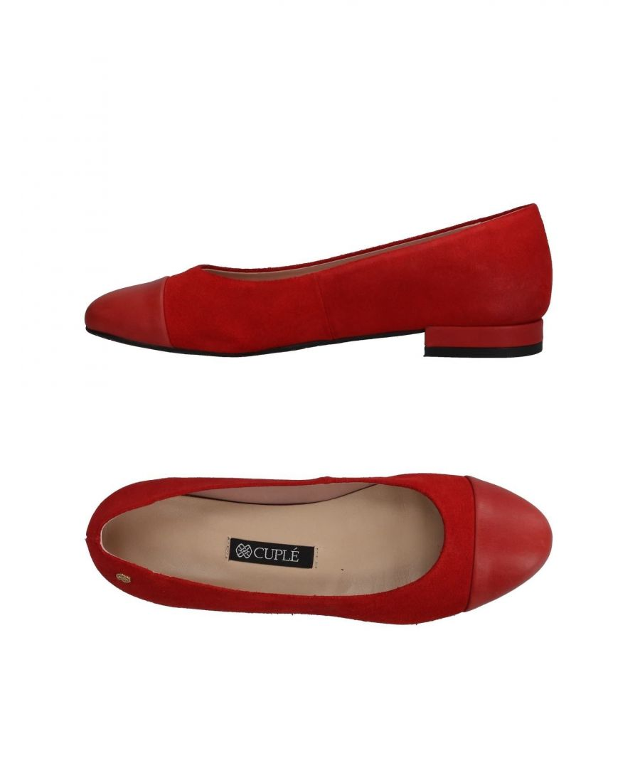 Image for Cuple Red Leather Ballet Flats