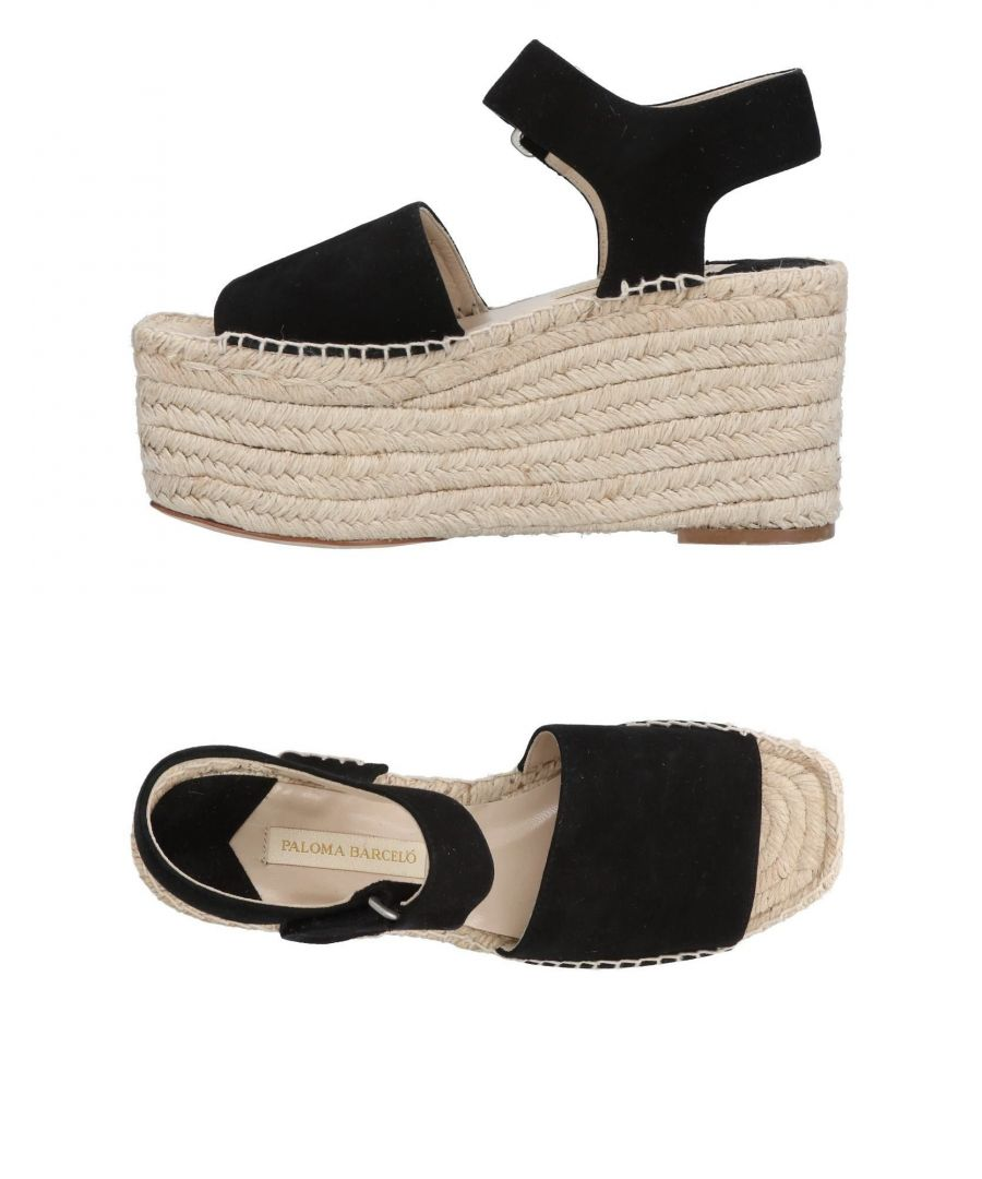 Image for Paloma Barcelo Black Leather Flatform Espadrilles
