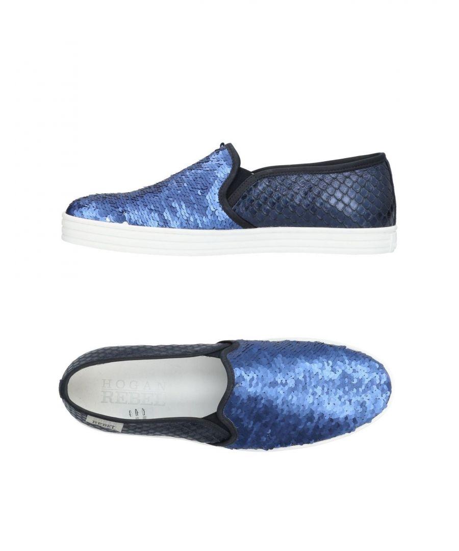 Image for Hogan Rebel Blue Sequinned Leather Slip Ons
