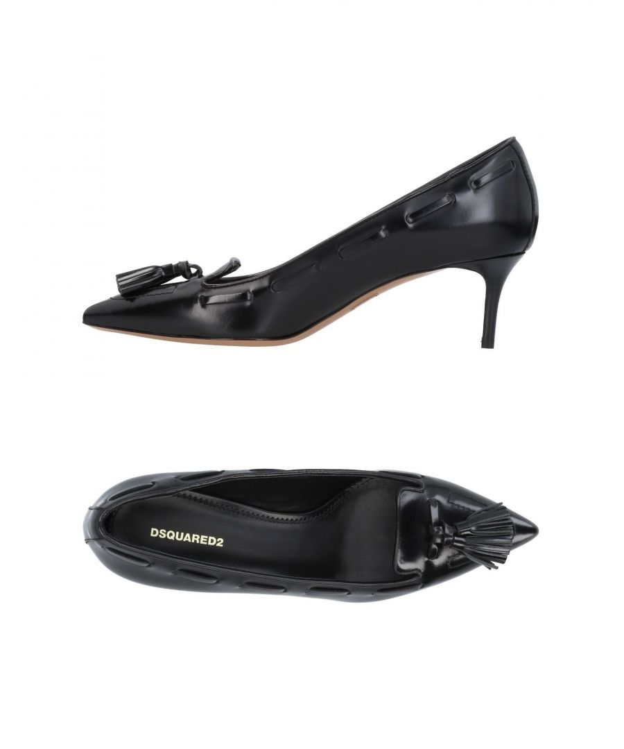 Image for Dsquared2 Black Leather Kitten Heels