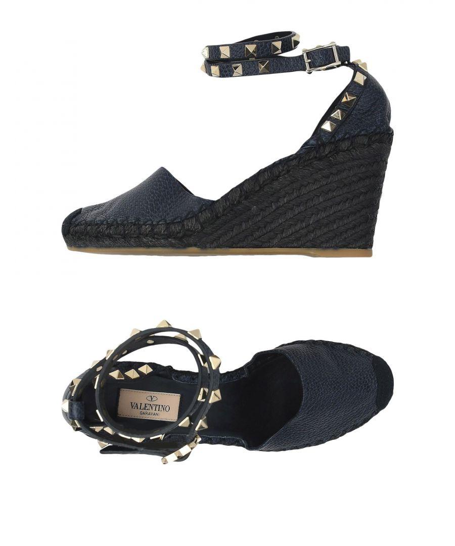 Image for Valentino Garavani Dark Blue Studded Leather Wedges