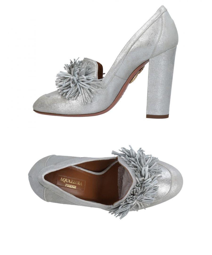 Image for Aquazzura Silver Leather Fringe Heels