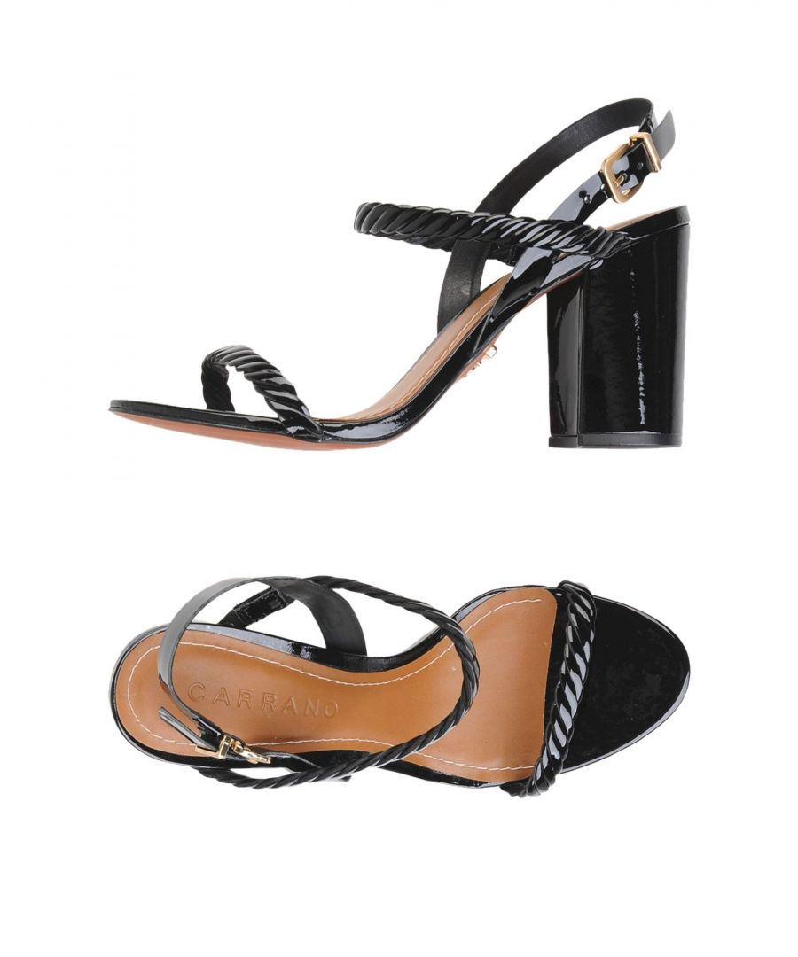 Image for Carrano Black Leather Heeled Sandals