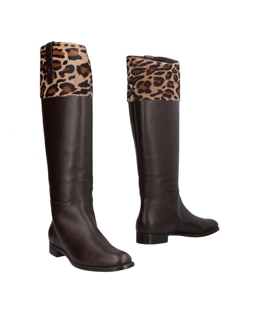 Image for Alberta Ferretti Dark Brown Leather Knee High Boots
