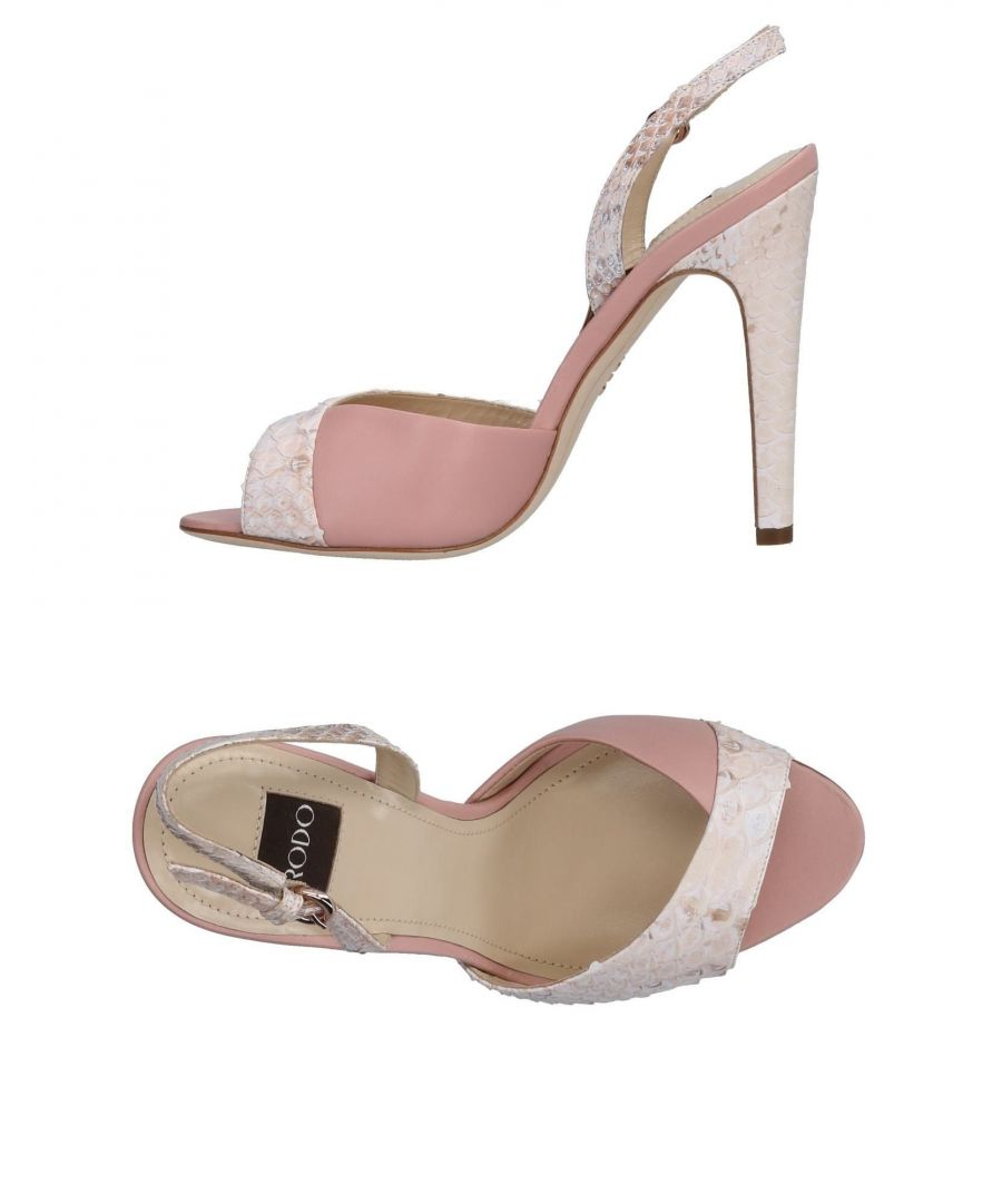Image for Rodo Pink Leather Heeled Sandals