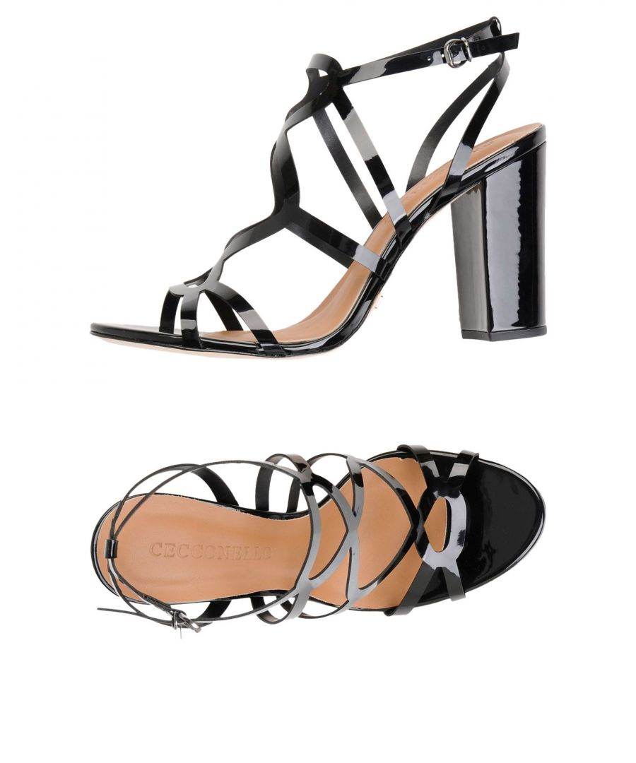 Image for Cecconello Black Faux Leather Heeled Sandals
