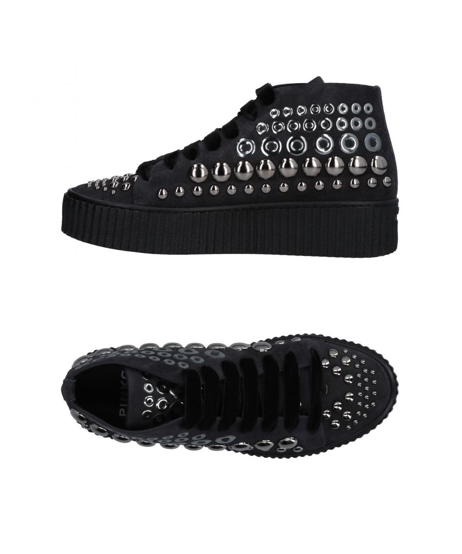Image for Pinko Steel Grey Leather Studded Sneakers