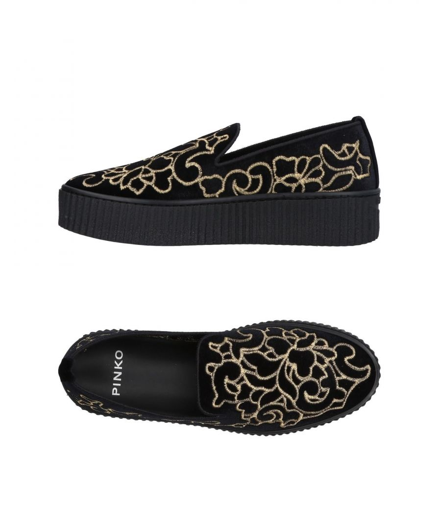 Image for Pinko Black Velvet Slip On Loafers