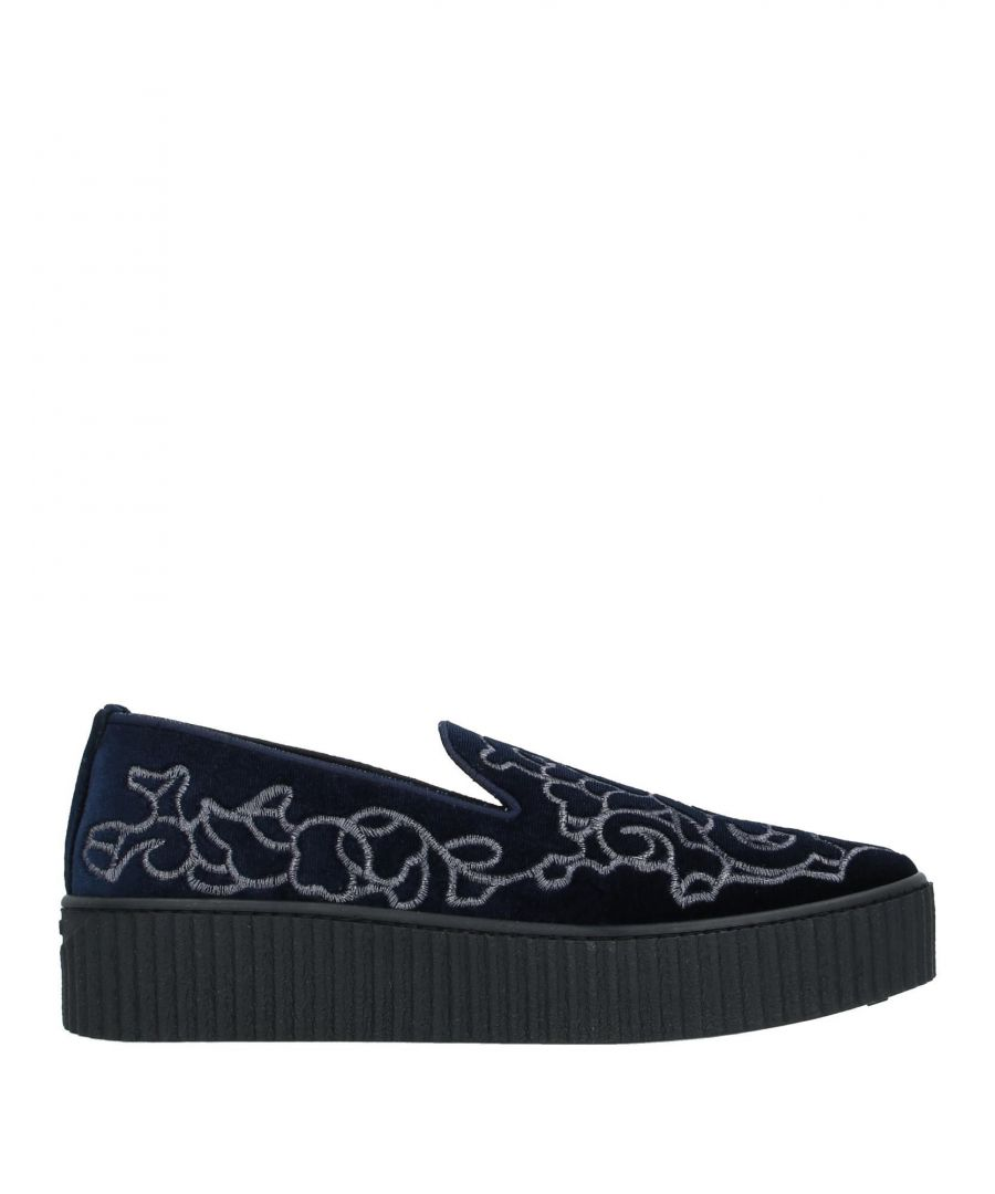 Image for Pinko Dark Blue Velvet Embroidered Loafers