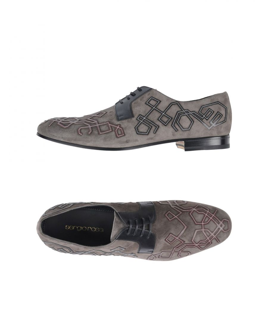Image for Sergio Rossi Lead Leather Embroidered Lace Up Shoes