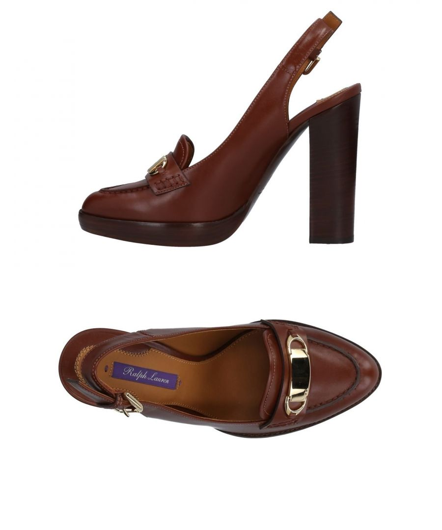 Image for Ralph Lauren Collection Brown Polished Leather Slingbacks