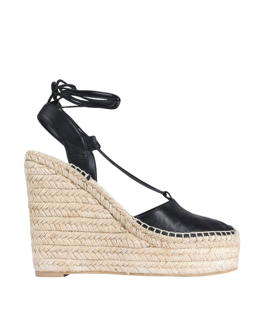 Image for Saint Laurent Black Leather Wedge Espadrilles