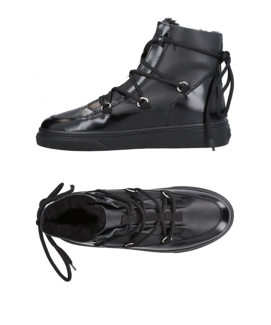 Image for Hogan Black Leather Lace Up Boots