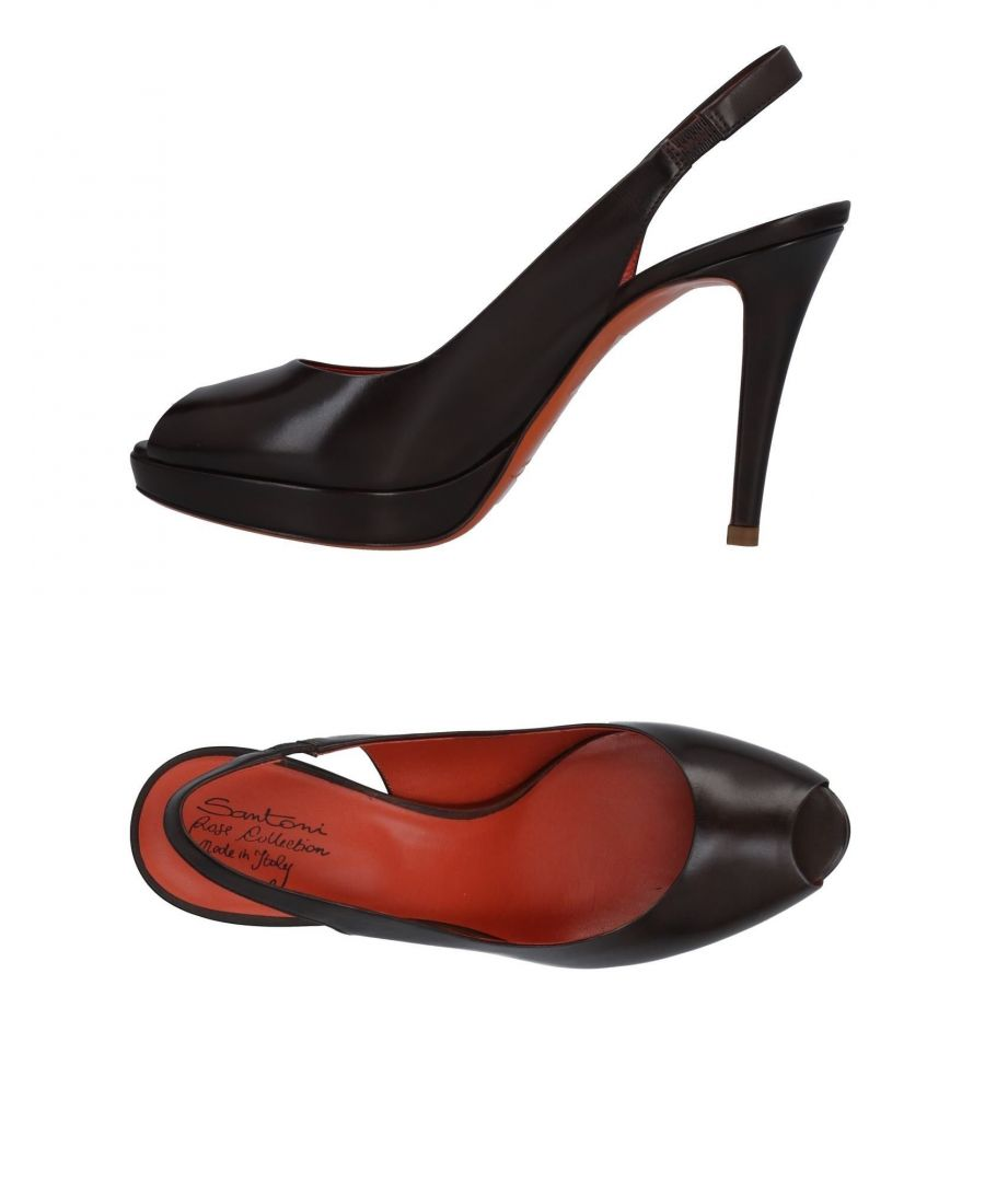 Image for Santoni Dark Brown Leather Slingback Heels