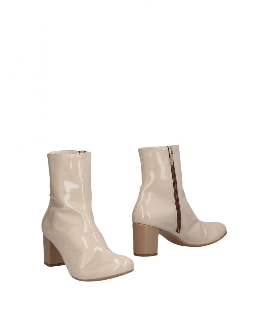 Image for Manila Grace Beige Leather Ankle Boots