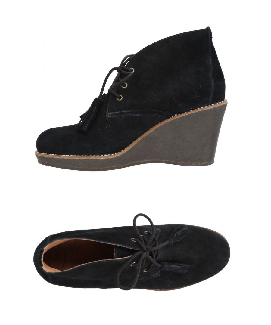 Image for Scholl Black Leather Lace Up Wedge Heel Boots