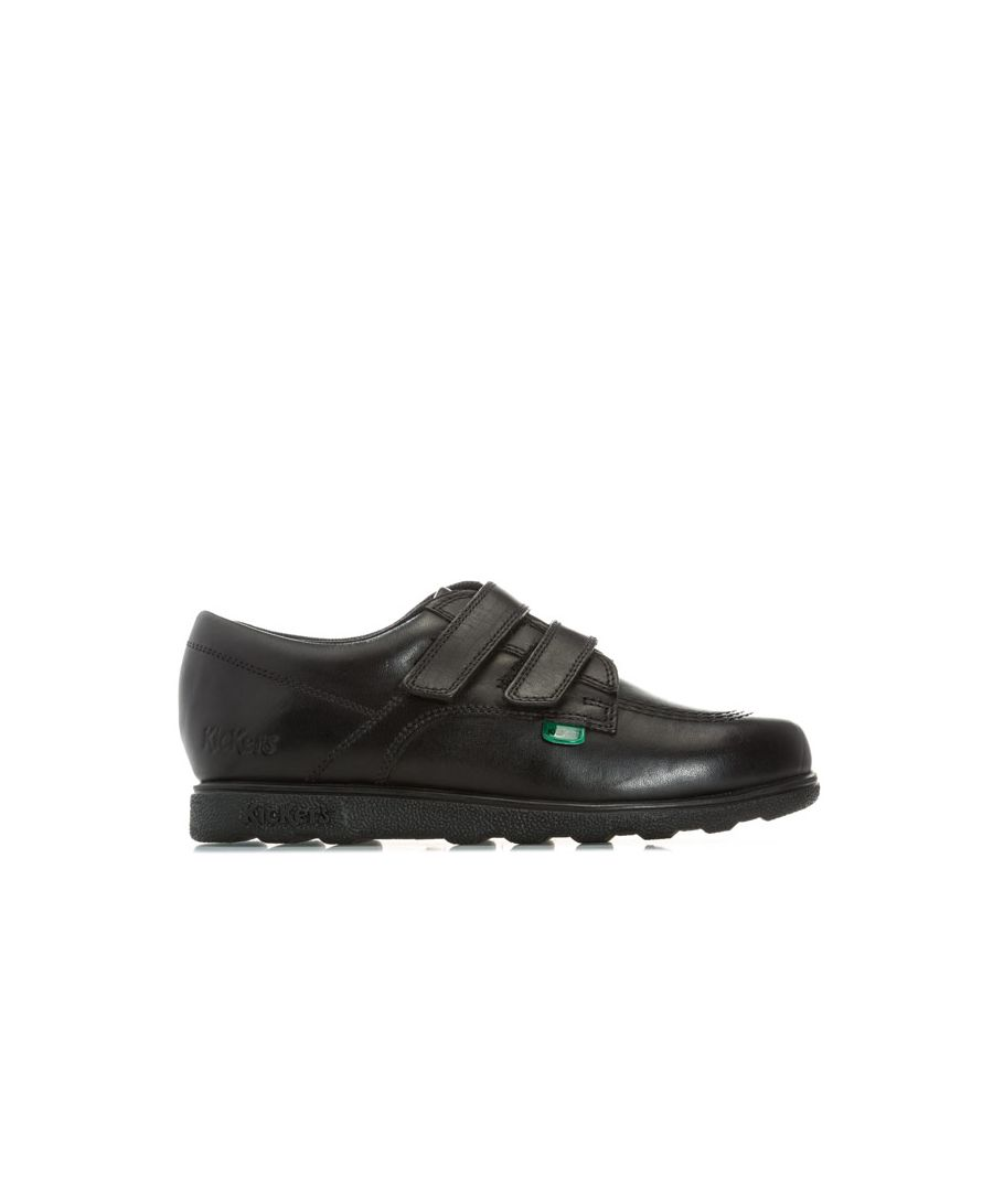 Image for Boy's Kickers Children Fragma Lo Strap Leather Shoes in Black