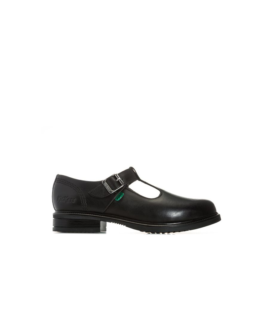 Image for Girl's Kickers Junior Lach T-Bar Leather Shoes in Black