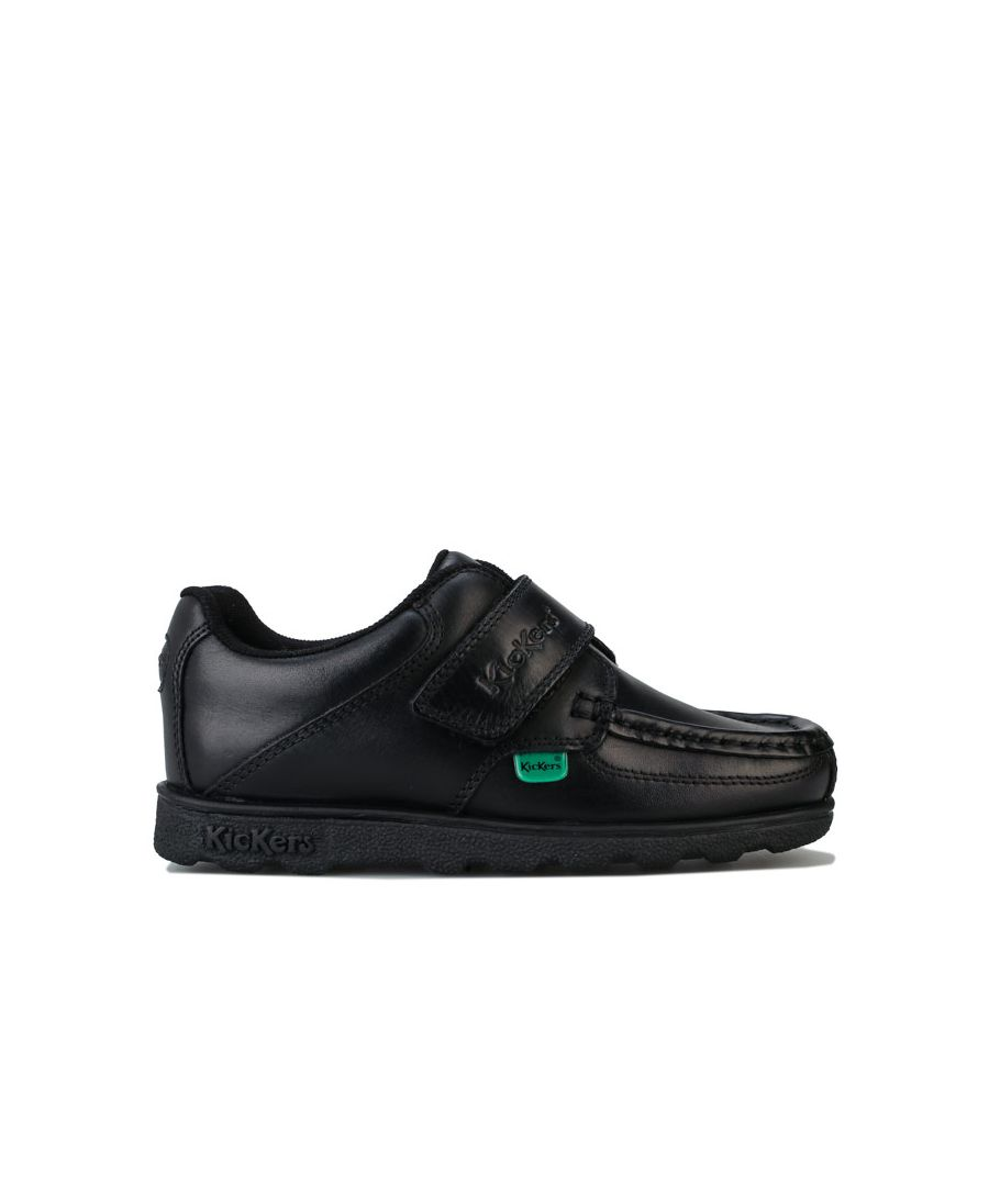 Image for Boy's Kickers Children Fragma Lo Strap Leather Shoe in Black