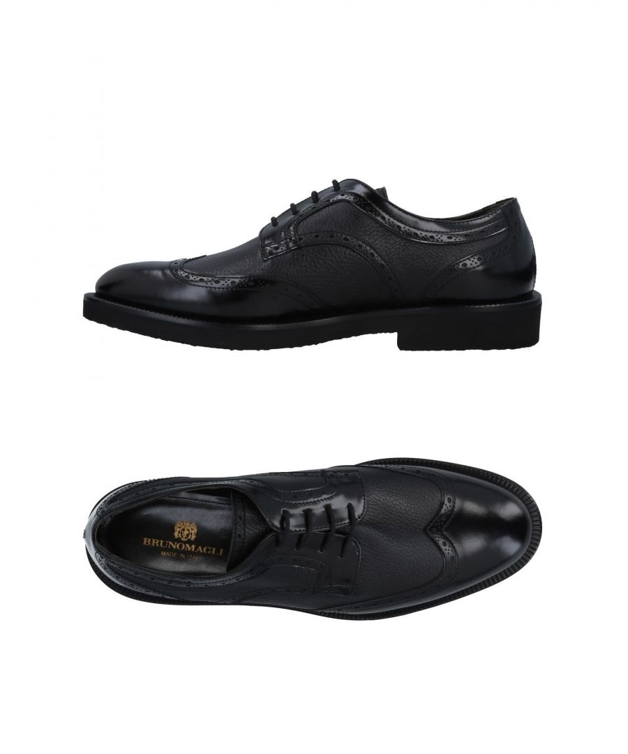 Image for Bruno Magli Black Leather Lace Up Shoes