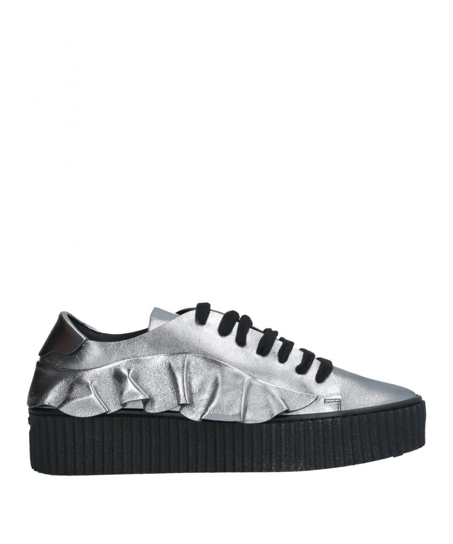 Image for Pinko Silver Leather Sneakers