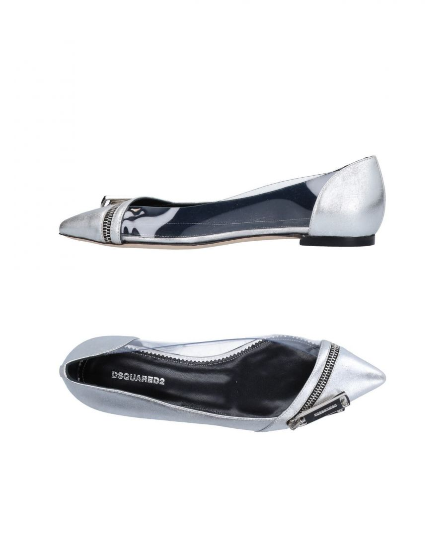 Image for Dsquared2 Silver Calf Leather Pointed Ballet Pumps