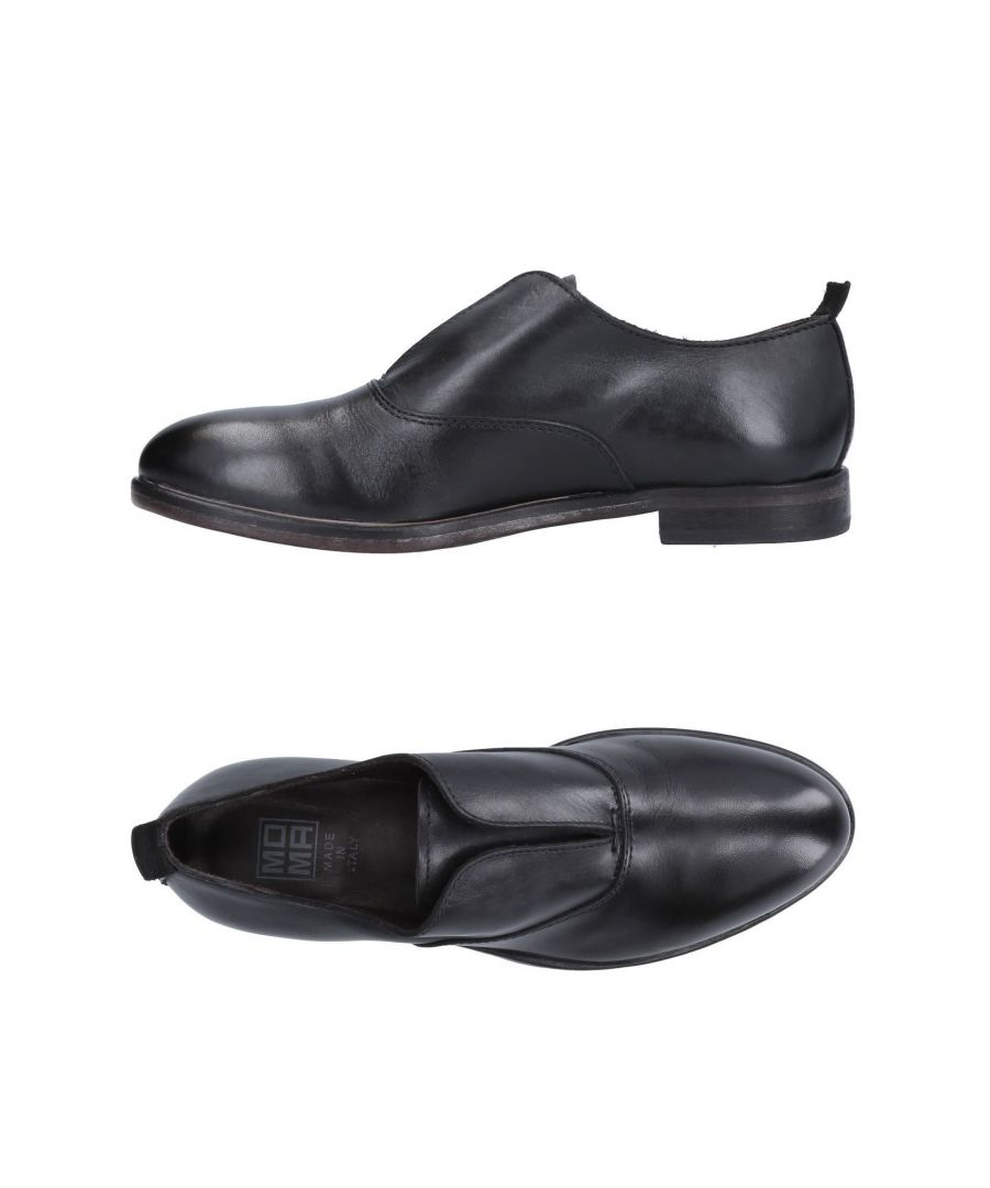 Image for Moma Black Leather Slip Ons
