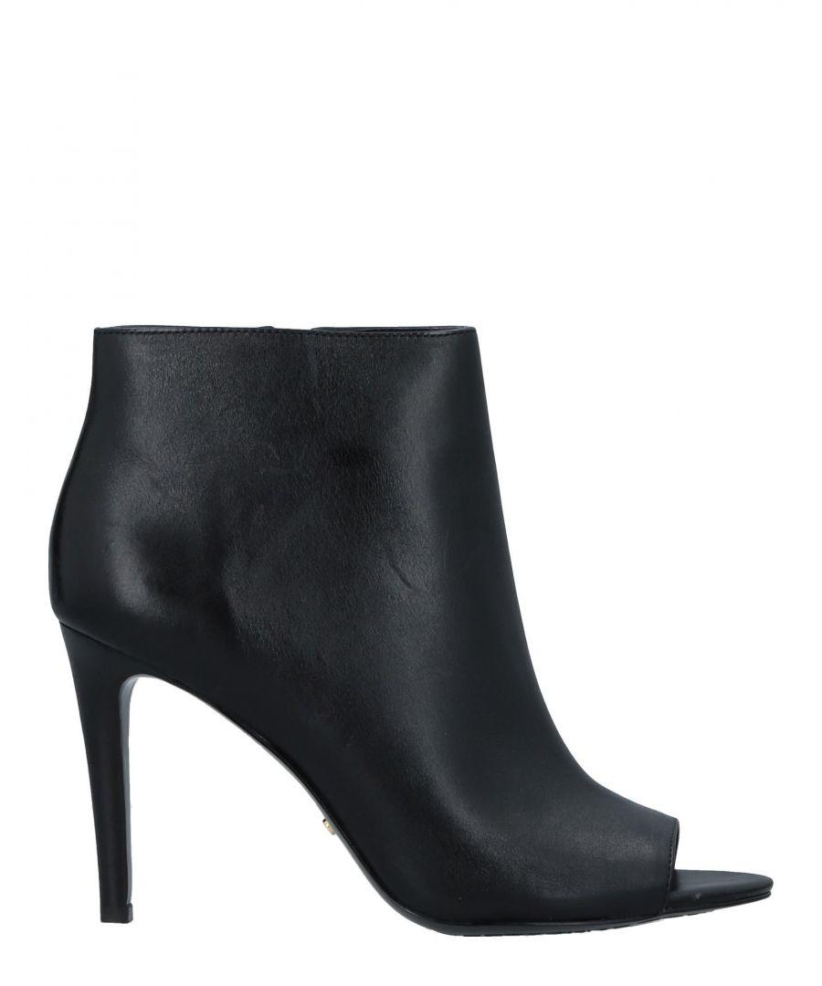 Image for Lauren Ralph Lauren Black Leather Peeptoe Ankle Boots