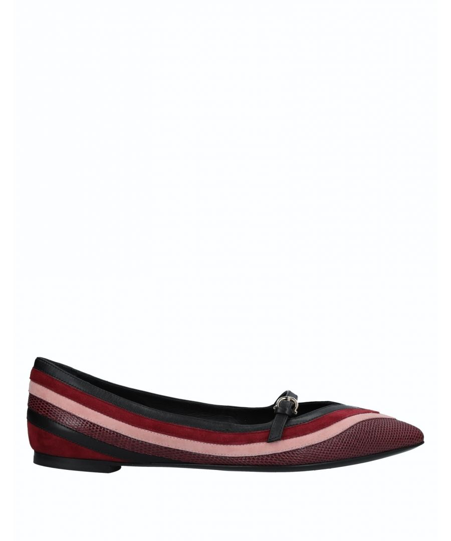 Image for Salvatore Ferragamo Maroon Calf Leather Pointed Ballet Flats