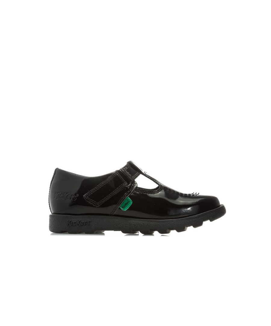 Image for Girl's Kickers Children Fragma T-Bar Patent Shoes in Black