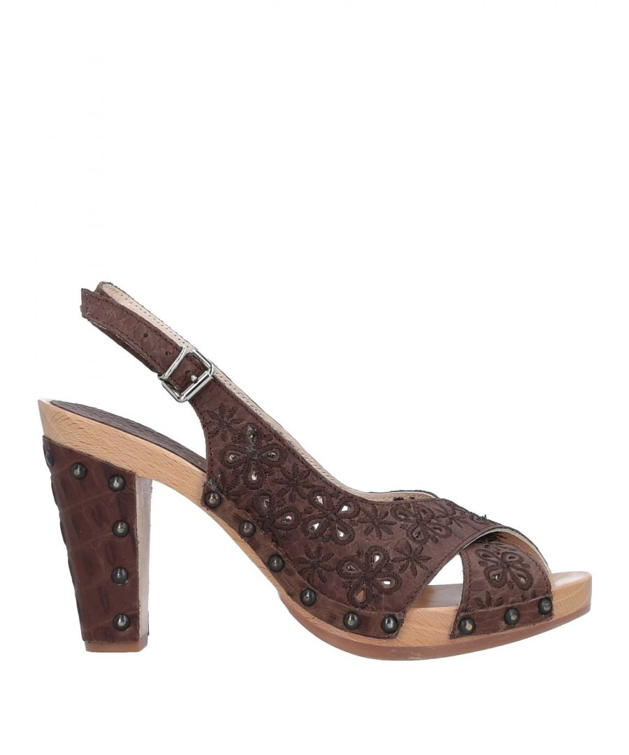 Image for Studio Pollini Dark Brown Leather Slingback Heels