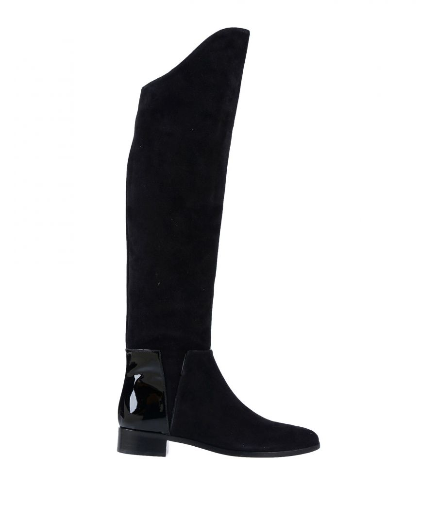 Image for Charlotte Olympia Black Leather Knee High Boots