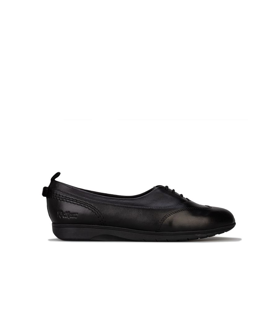 Image for Women's Kickers Perobelle Leather Plimsoll Shoes in Black
