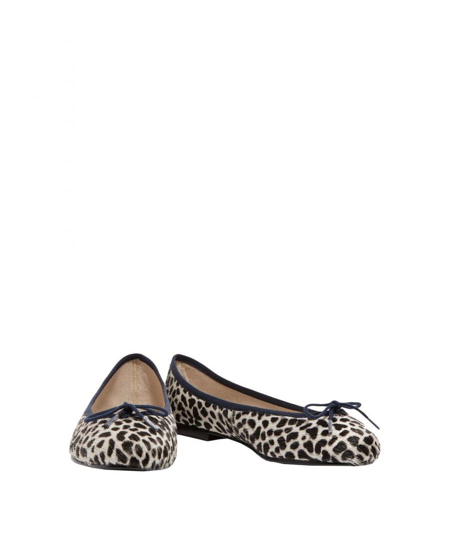 Image for French Sole Black Leopard Print Leather Ballet Flats