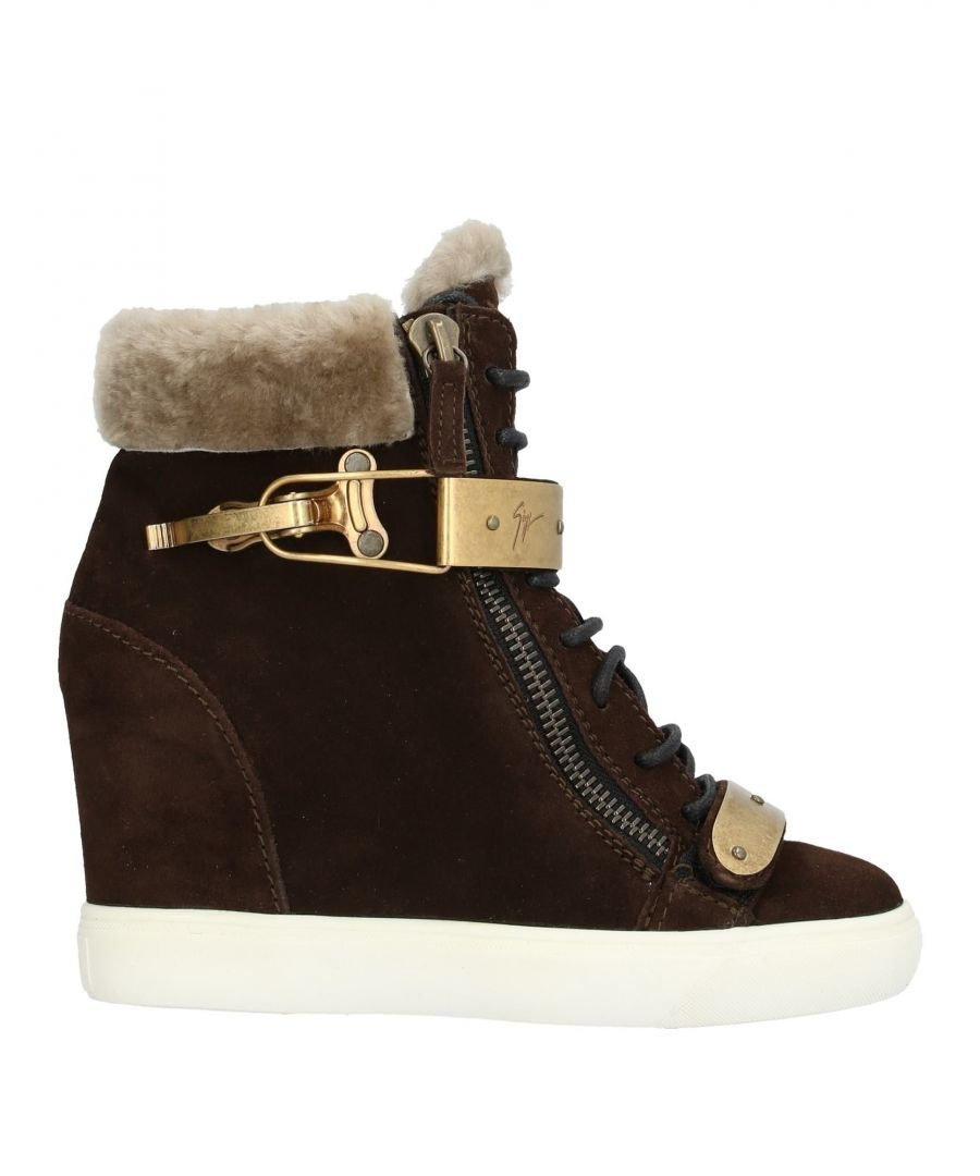 Image for Giuseppe Zanotti Dark Brown Shearling Wedge Ankle Boots