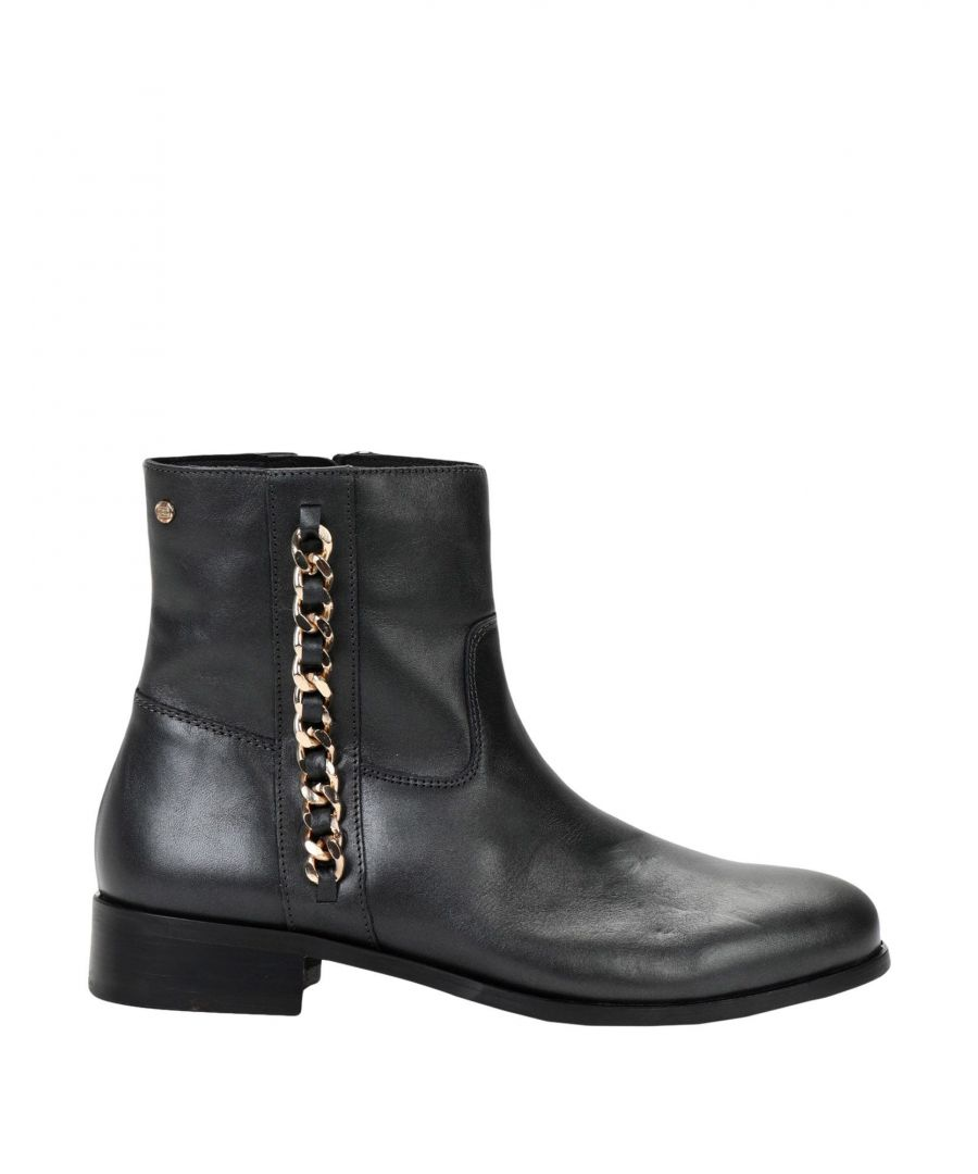 Image for Tommy Hilfiger Steel Grey Leather Ankle Boots