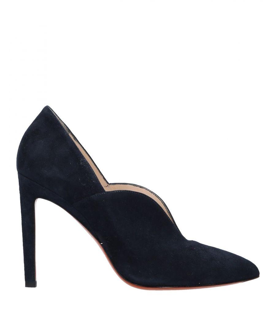 Image for Santoni Dark Blue Leather Court Shoe Heels