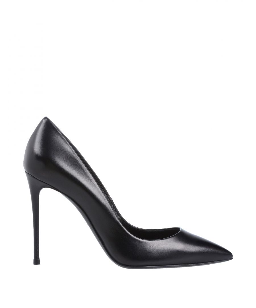 Image for Casadei Black Leather Pointed Court Shoe Heels