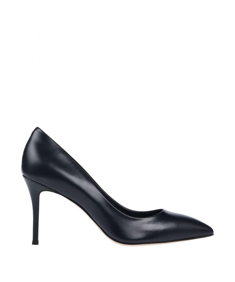 Image for Giuseppe Zanotti Dark Blue Leather Court Shoe Heels