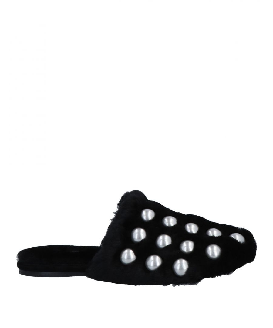 Image for Alexander Wang Black Shearling Studded Mules