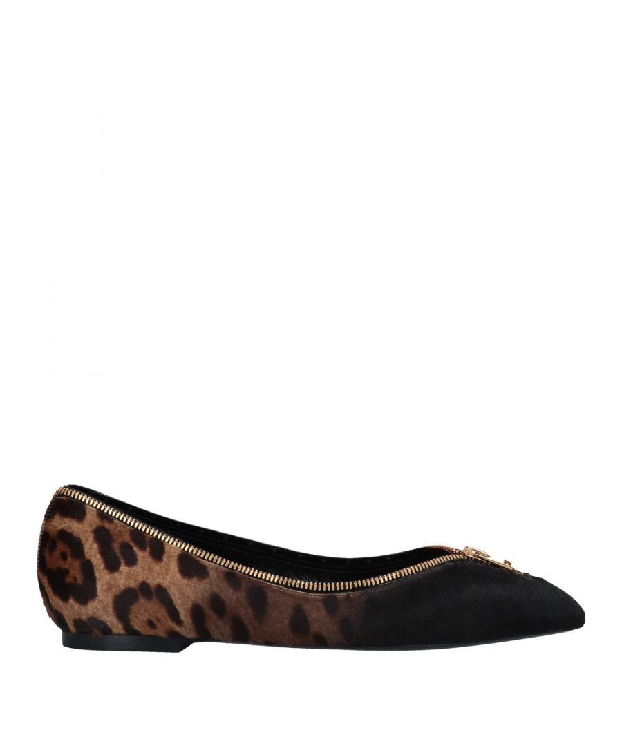 Image for Tom Ford Beige Print Leather Pointed Ballet Flats