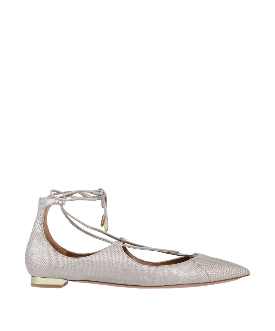 Image for Aquazzura Light Grey Printed Leather Strapped Ballet Flats